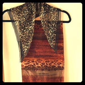 Two vintage animal print silk scarves